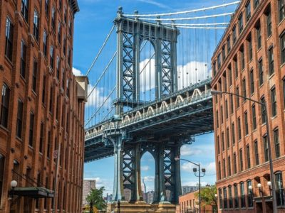2019 New York City Brooklyn old buildings and bridge in Dumbo